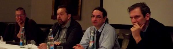 Roundtable on Machine Translation - left to right: Jost Zetzsche, Siegfried Armbruster, Emmanuel Planas, Prof. Philipp Koehn